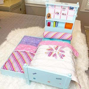 American Girl Bouquet Doll Trundle Bed + Bedding